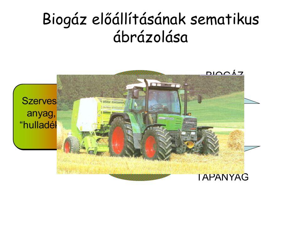 """Biogáz előállításának sematikus ábrázolása Szerves anyag, """"hulladék"""" BIOGÁZ TÁPANYAG Anaerob fermentáció"""