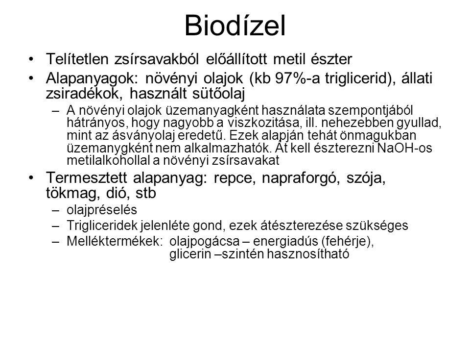 Biodízel Telítetlen zsírsavakból előállított metil észter Alapanyagok: növényi olajok (kb 97%-a triglicerid), állati zsiradékok, használt sütőolaj –A