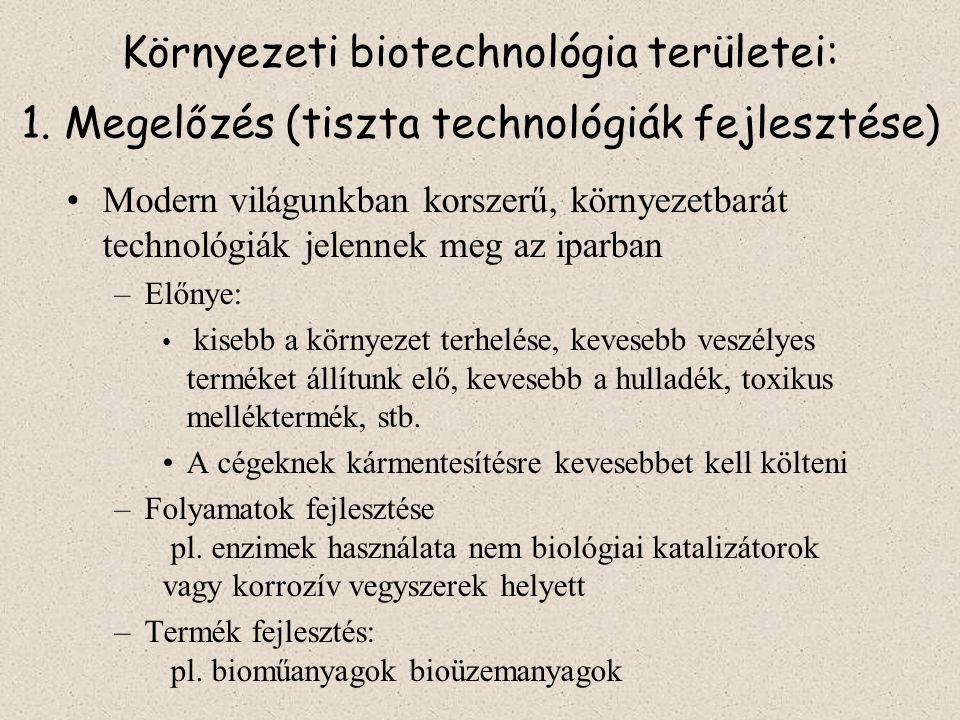 Környezeti biotechnológia területei: 1.