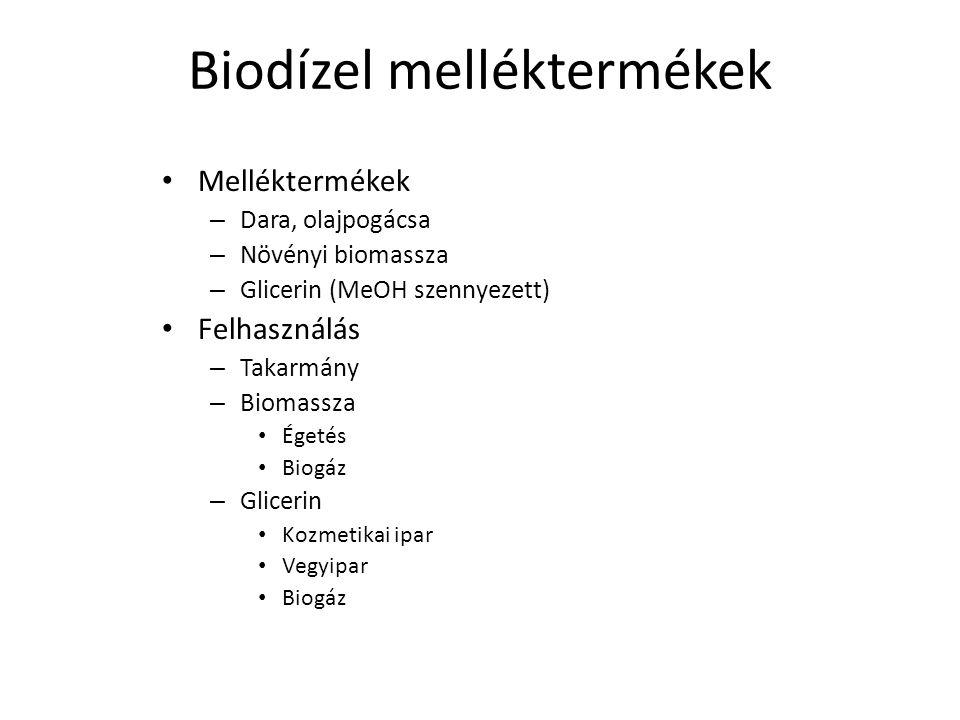 Biodízel melléktermékek Melléktermékek – Dara, olajpogácsa – Növényi biomassza – Glicerin (MeOH szennyezett) Felhasználás – Takarmány – Biomassza Éget