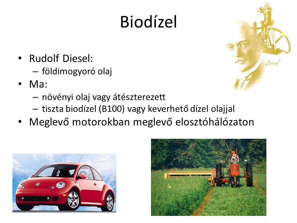 Biodízel Rudolf Diesel: – földimogyoró olaj Ma: – növényi olaj vagy átészterezett – tiszta biodízel (B100) vagy keverhető dízel olajjal Meglevő motoro