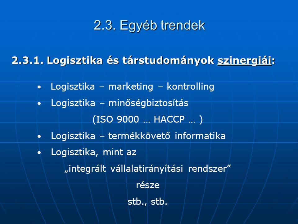 2.3. Egyéb trendek 2.3.1. Logisztika és társtudományok szinergiái: Logisztika – marketing – kontrolling Logisztika – minőségbiztosítás (ISO 9000 … HAC