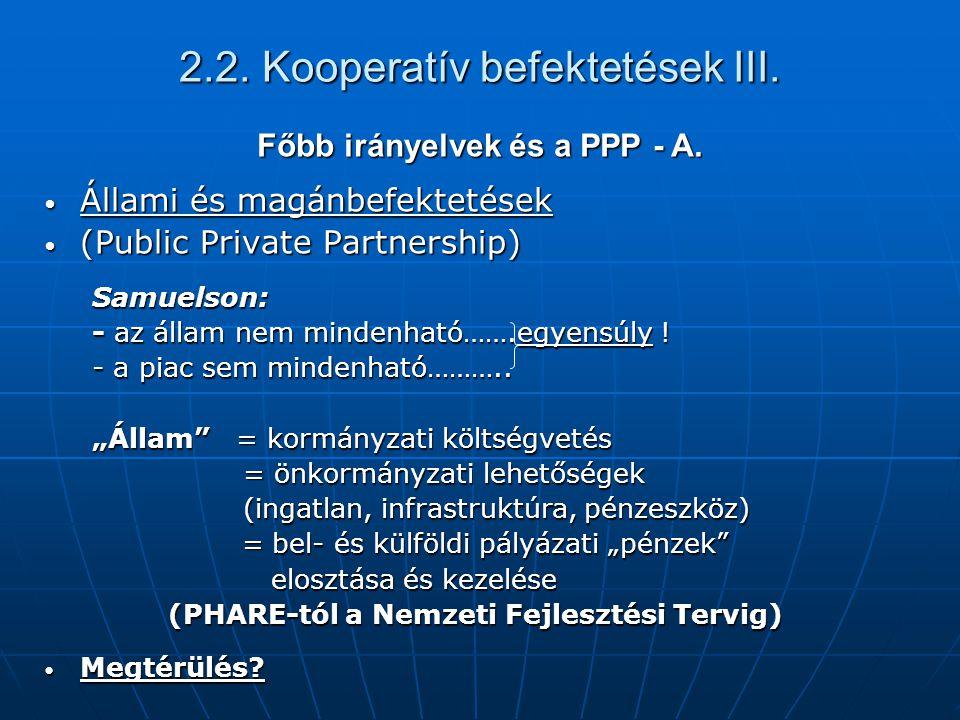 2.2. Kooperatív befektetések III. Főbb irányelvek és a PPP - A. Állami és magánbefektetések Állami és magánbefektetések (Public Private Partnership) (