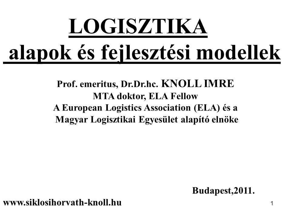 1 LOGISZTIKA alapok és fejlesztési modellek Prof. emeritus, Dr.Dr.hc. KNOLL IMRE MTA doktor, ELA Fellow A European Logistics Association (ELA) és a Ma
