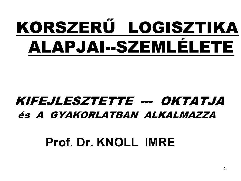 2 KORSZERŰ LOGISZTIKA ALAPJAI--SZEMLÉLETE KIFEJLESZTETTE --- OKTATJA és A GYAKORLATBAN ALKALMAZZA Prof. Dr. KNOLL IMRE