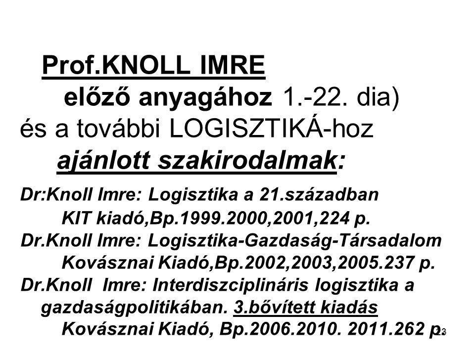 23 Prof.KNOLL IMRE előző anyagához 1.-22. dia) és a további LOGISZTIKÁ-hoz ajánlott szakirodalmak: Dr:Knoll Imre: Logisztika a 21.században KIT kiadó,