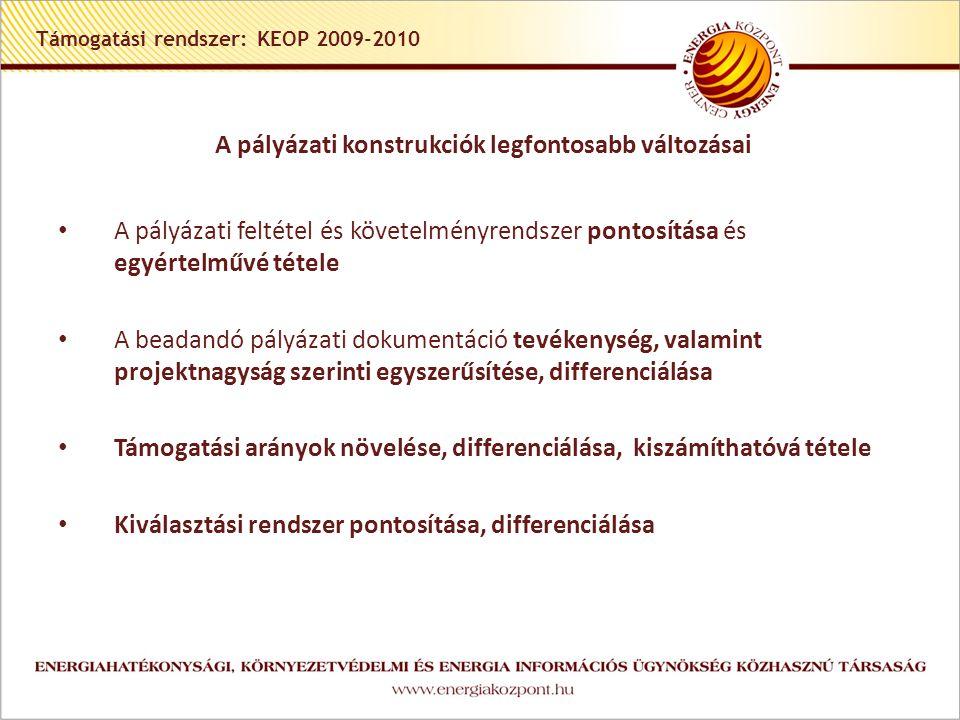 Támogatási rendszer: KEOP 2009-2010 A pályázati konstrukciók legfontosabb változásai A pályázati feltétel és követelményrendszer pontosítása és egyértelművé tétele A beadandó pályázati dokumentáció tevékenység, valamint projektnagyság szerinti egyszerűsítése, differenciálása Támogatási arányok növelése, differenciálása, kiszámíthatóvá tétele Kiválasztási rendszer pontosítása, differenciálása