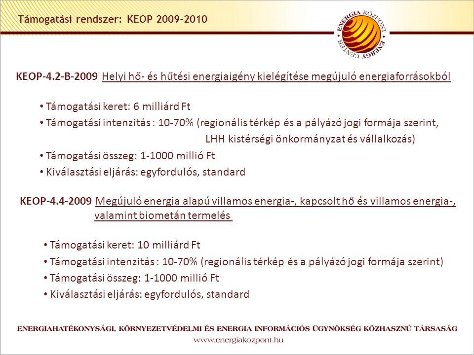 Támogatási rendszer: KEOP 2009-2010 KEOP-4.2-B-2009 Helyi hő- és hűtési energiaigény kielégítése megújuló energiaforrásokból Támogatási keret: 6 milliárd Ft Támogatási intenzitás : 10-70% (regionális térkép és a pályázó jogi formája szerint, LHH kistérségi önkormányzat és vállalkozás) Támogatási összeg: 1-1000 millió Ft Kiválasztási eljárás: egyfordulós, standard KEOP-4.4-2009 Megújuló energia alapú villamos energia-, kapcsolt hő és villamos energia-, valamint biometán termelés Támogatási keret: 10 milliárd Ft Támogatási intenzitás : 10-70% (regionális térkép és a pályázó jogi formája szerint) Támogatási összeg: 1-1000 millió Ft Kiválasztási eljárás: egyfordulós, standard