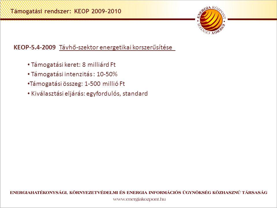 Támogatási rendszer: KEOP 2009-2010 KEOP-5.4-2009 Távhő-szektor energetikai korszerűsítése Támogatási keret: 8 milliárd Ft Támogatási intenzitás : 10-50% Támogatási összeg: 1-500 millió Ft Kiválasztási eljárás: egyfordulós, standard