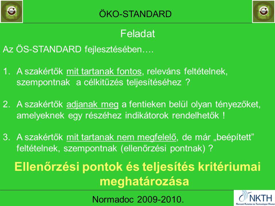ÖKO-STANDARD Normadoc 2009-2010. Az ÖS-STANDARD fejlesztésében….