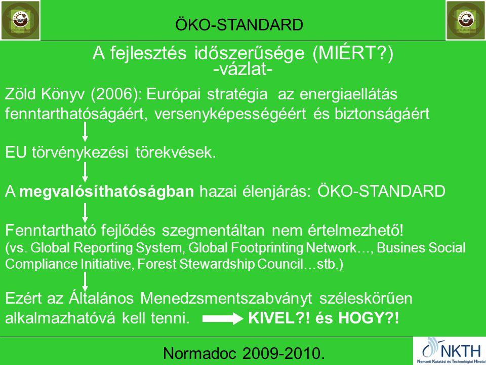 A fejlesztés időszerűsége (MIÉRT?) -vázlat- ÖKO-STANDARD Normadoc 2009-2010.