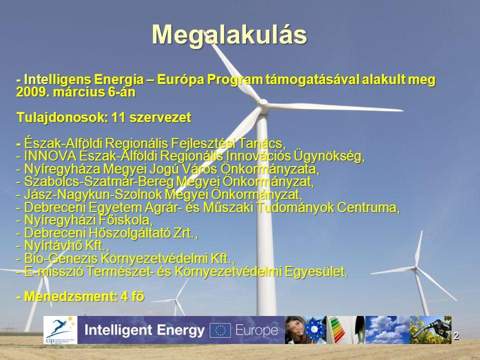 - Intelligens Energia – Európa Program támogatásával alakult meg 2009. március 6-án Tulajdonosok: 11 szervezet - Észak-Alföldi Regionális Fejlesztési