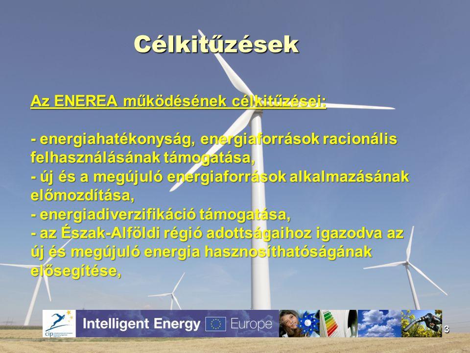 Célkitűzések 3 Az ENEREA működésének célkitűzései: - energiahatékonyság, energiaforrások racionális felhasználásának támogatása, - új és a megújuló en