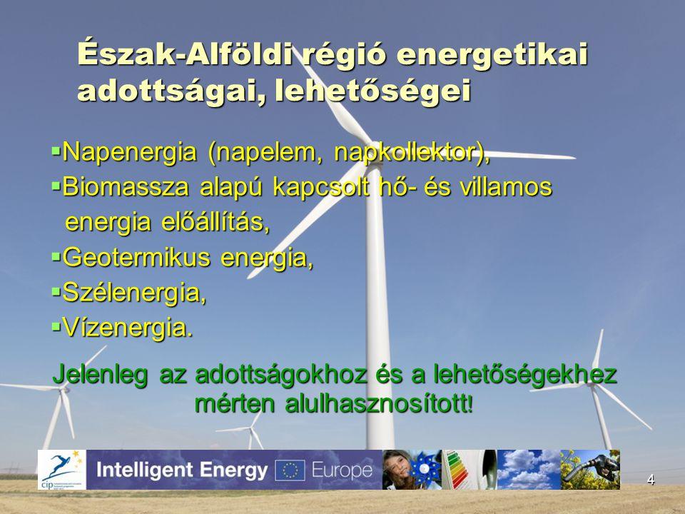 Észak-Alföldi régió energetikai adottságai, lehetőségei  Napenergia (napelem, napkollektor),  Biomassza alapú kapcsolt hő- és villamos energia előál