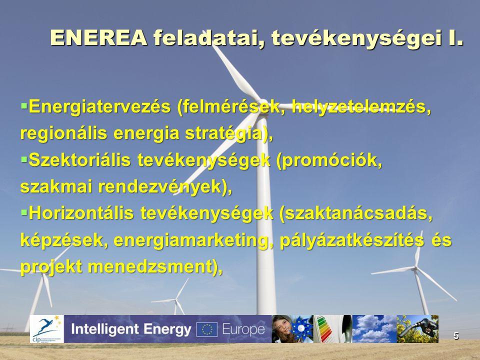 ENEREA feladatai, tevékenységei I.  Energiatervezés (felmérések, helyzetelemzés, regionális energia stratégia),  Szektoriális tevékenységek (promóci