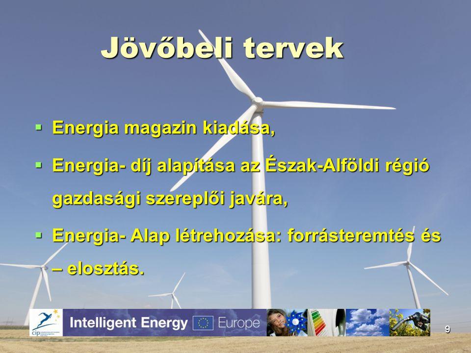 Jövőbeli tervek  Energia magazin kiadása,  Energia- díj alapítása az Észak-Alföldi régió gazdasági szereplői javára,  Energia- Alap létrehozása: fo