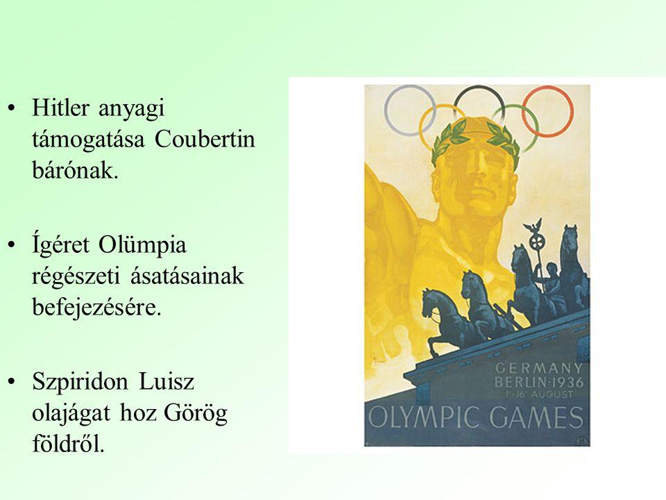 Hitler anyagi támogatása Coubertin bárónak.Ígéret Olümpia régészeti ásatásainak befejezésére.