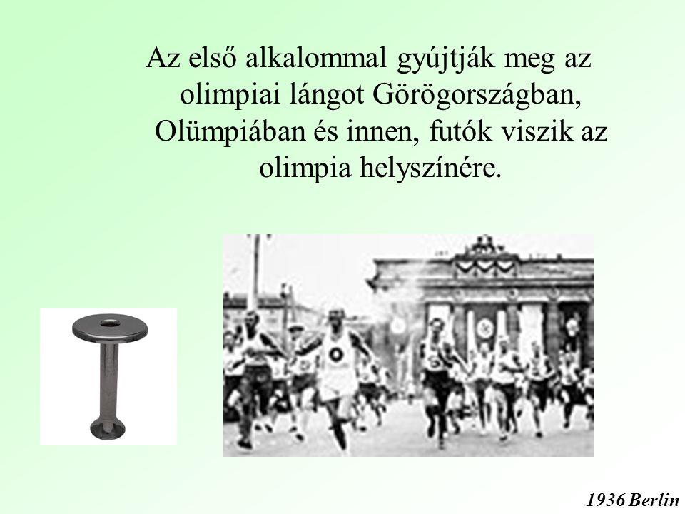 Az első alkalommal gyújtják meg az olimpiai lángot Görögországban, Olümpiában és innen, futók viszik az olimpia helyszínére.
