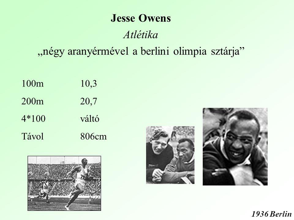 """Jesse Owens Atlétika """"négy aranyérmével a berlini olimpia sztárja 1936 Berlin 100m10,3 200m20,7 4*100váltó Távol806cm"""