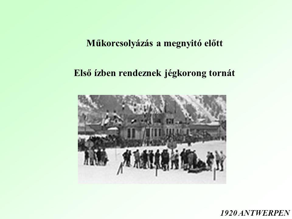 Műkorcsolyázás a megnyitó előtt Első ízben rendeznek jégkorong tornát 1920 ANTWERPEN