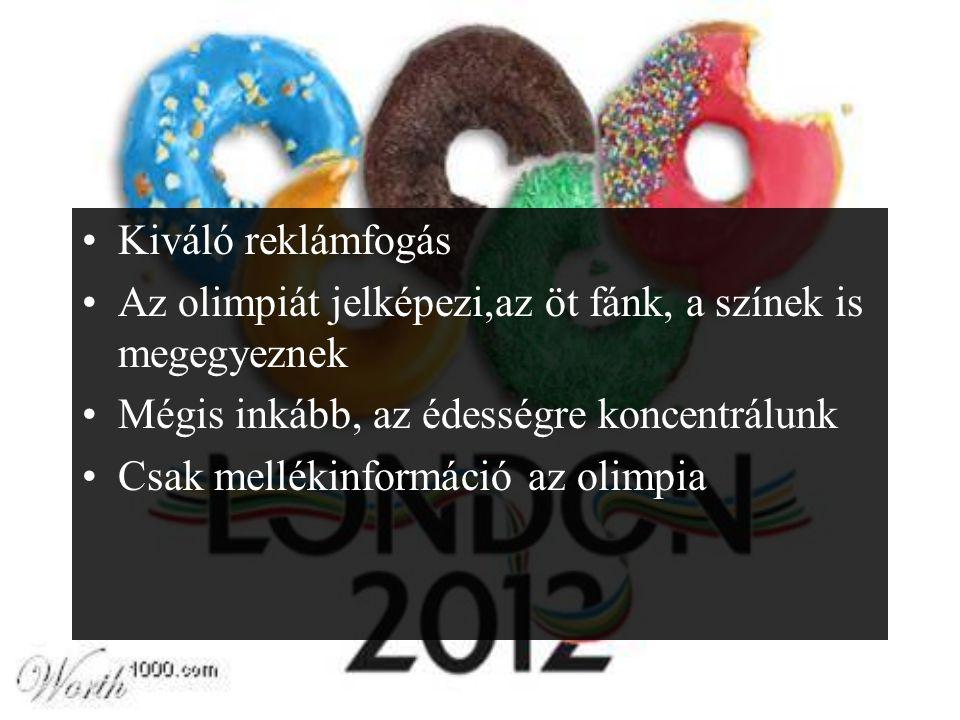 Kiváló reklámfogás Az olimpiát jelképezi,az öt fánk, a színek is megegyeznek Mégis inkább, az édességre koncentrálunk Csak mellékinformáció az olimpia