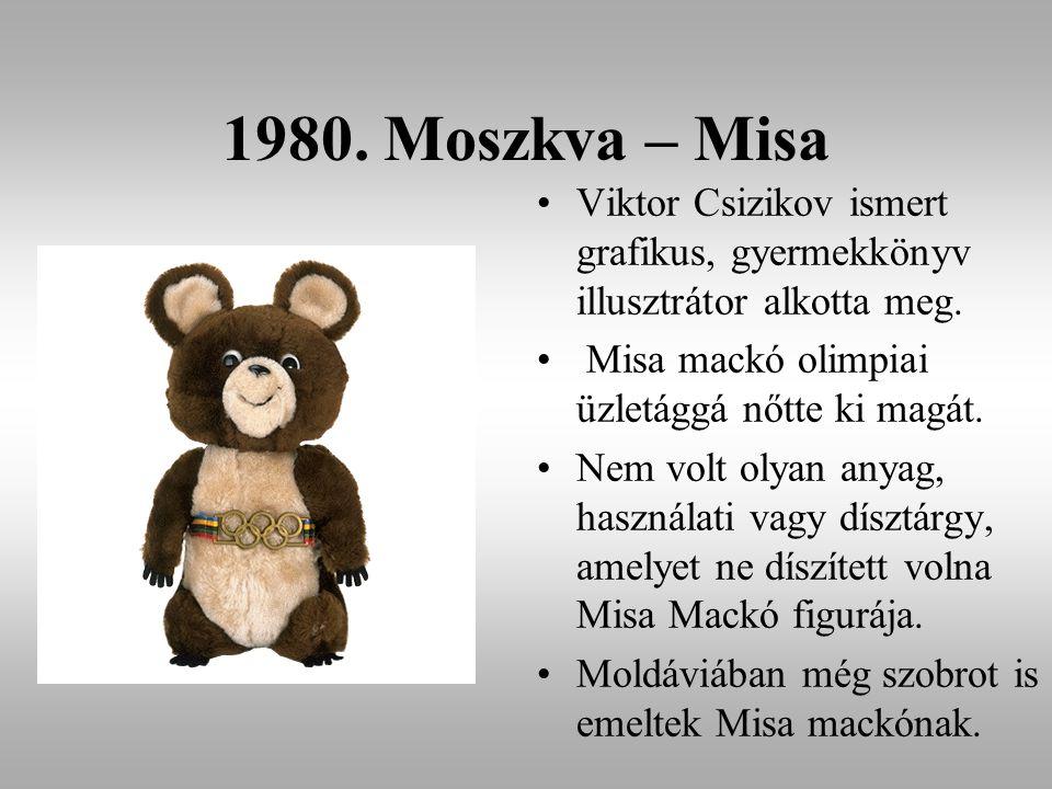 1980. Moszkva – Misa Viktor Csizikov ismert grafikus, gyermekkönyv illusztrátor alkotta meg. Misa mackó olimpiai üzletággá nőtte ki magát. Nem volt ol