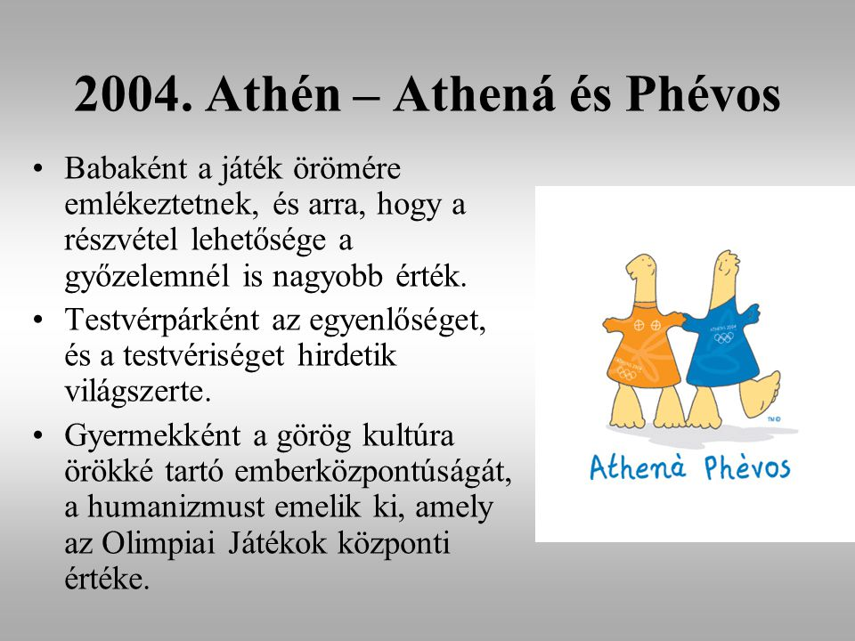2004. Athén – Athená és Phévos Babaként a játék örömére emlékeztetnek, és arra, hogy a részvétel lehetősége a győzelemnél is nagyobb érték. Testvérpár
