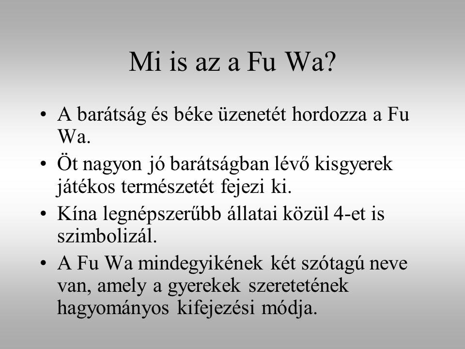 Mi is az a Fu Wa? A barátság és béke üzenetét hordozza a Fu Wa. Öt nagyon jó barátságban lévő kisgyerek játékos természetét fejezi ki. Kína legnépszer