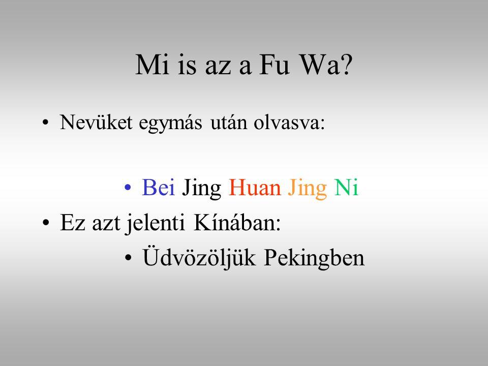 Mi is az a Fu Wa? Nevüket egymás után olvasva: Bei Jing Huan Jing Ni Ez azt jelenti Kínában: Üdvözöljük Pekingben