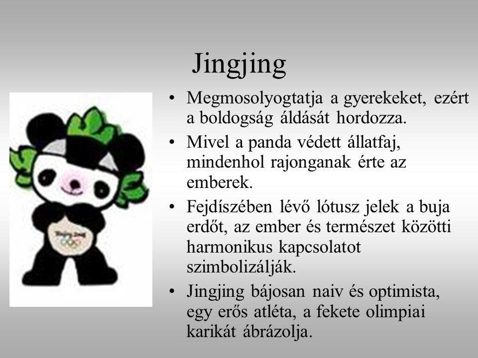 Jingjing Megmosolyogtatja a gyerekeket, ezért a boldogság áldását hordozza. Mivel a panda védett állatfaj, mindenhol rajonganak érte az emberek. Fejdí