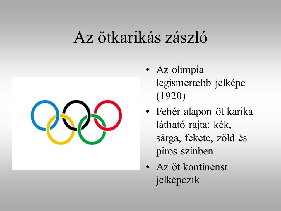 Az ötkarikás zászló Az olimpia legismertebb jelképe (1920) Fehér alapon öt karika látható rajta: kék, sárga, fekete, zöld és piros színben Az öt konti
