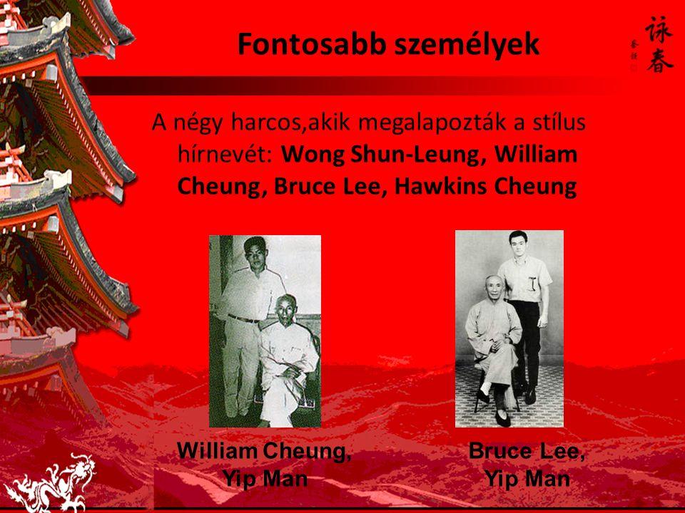 Fontosabb személyek A négy harcos,akik megalapozták a stílus hírnevét: Wong Shun-Leung, William Cheung, Bruce Lee, Hawkins Cheung William Cheung, Yip Man Bruce Lee, Yip Man