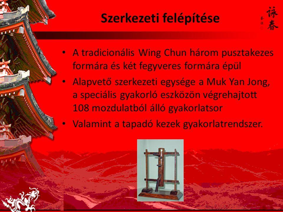 Szerkezeti felépítése A tradicionális Wing Chun három pusztakezes formára és két fegyveres formára épül Alapvető szerkezeti egysége a Muk Yan Jong, a speciális gyakorló eszközön végrehajtott 108 mozdulatból álló gyakorlatsor Valamint a tapadó kezek gyakorlatrendszer.