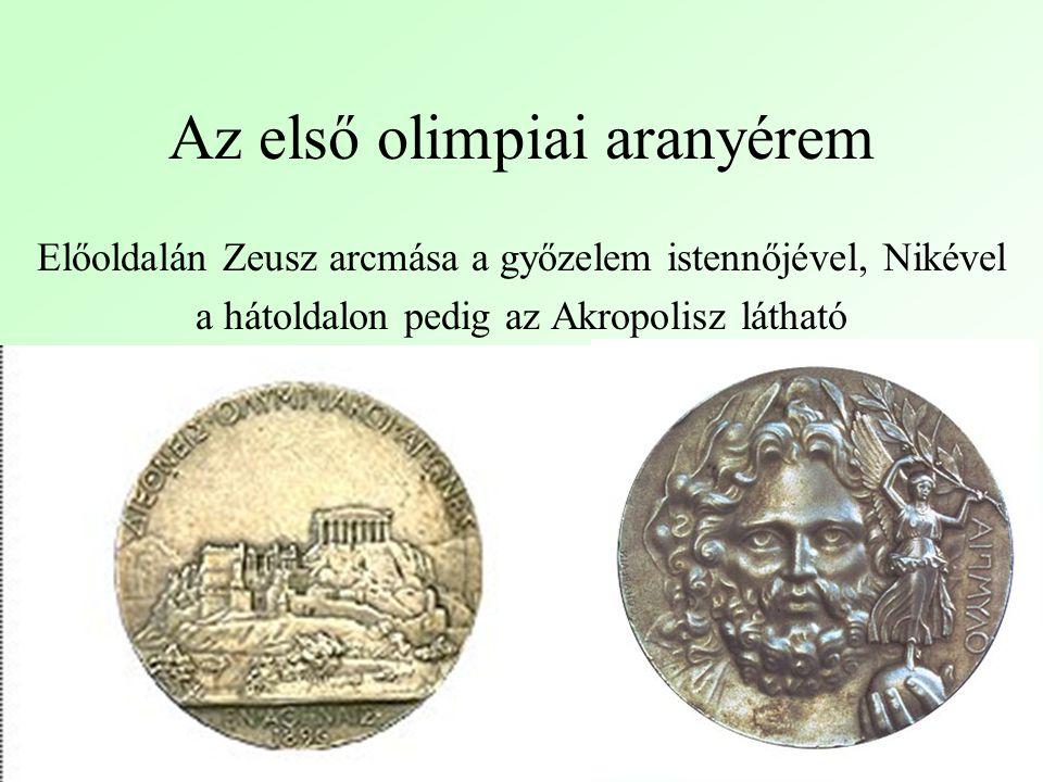 Az első olimpiai aranyérem Előoldalán Zeusz arcmása a győzelem istennőjével, Nikével a hátoldalon pedig az Akropolisz látható