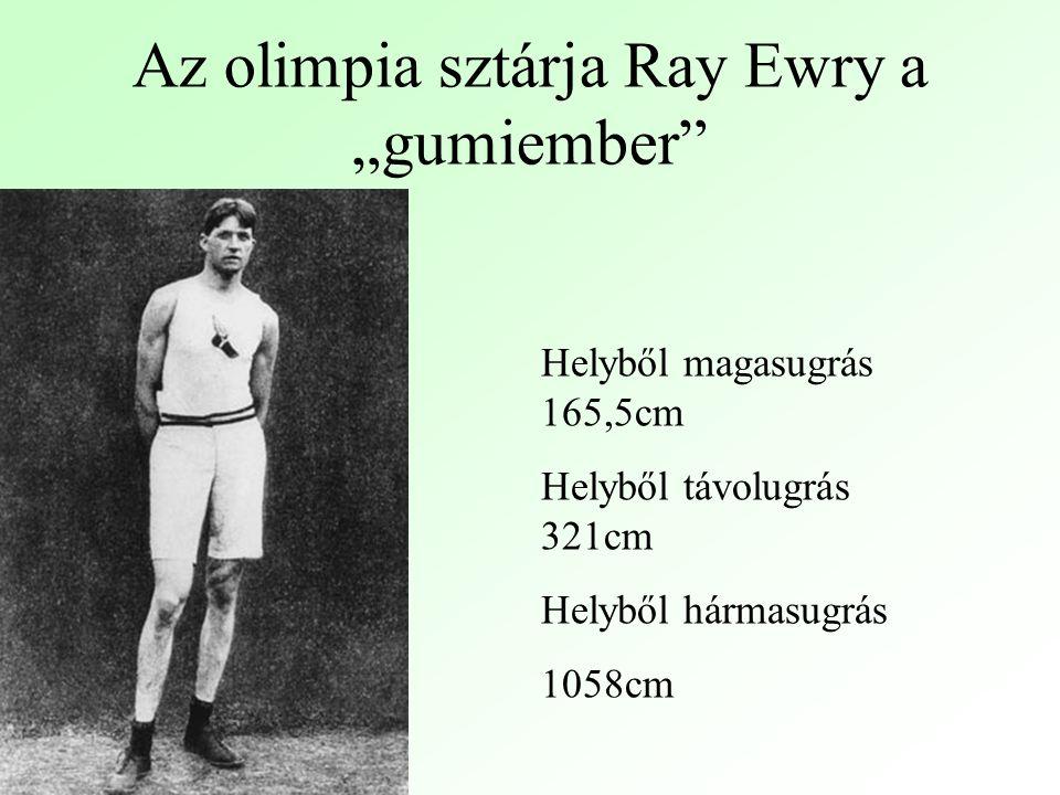 """Az olimpia sztárja Ray Ewry a """"gumiember Helyből magasugrás 165,5cm Helyből távolugrás 321cm Helyből hármasugrás 1058cm"""