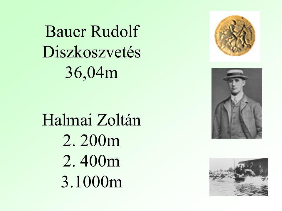 Bauer Rudolf Diszkoszvetés 36,04m Halmai Zoltán 2. 200m 2. 400m 3.1000m