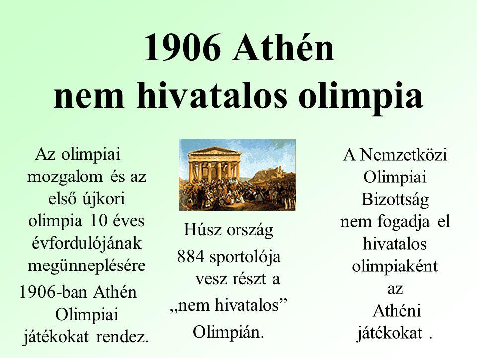 """1906 Athén nem hivatalos olimpia Húsz ország 884 sportolója vesz részt a """"nem hivatalos Olimpián."""