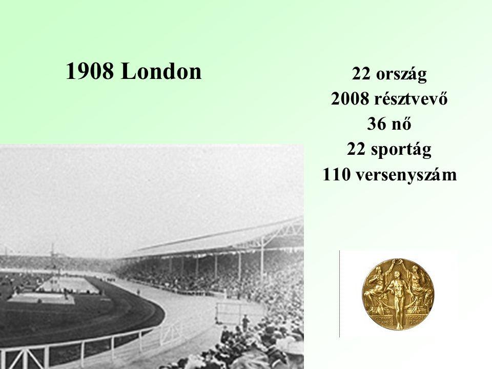 22 ország 2008 résztvevő 36 nő 22 sportág 110 versenyszám 1908 London