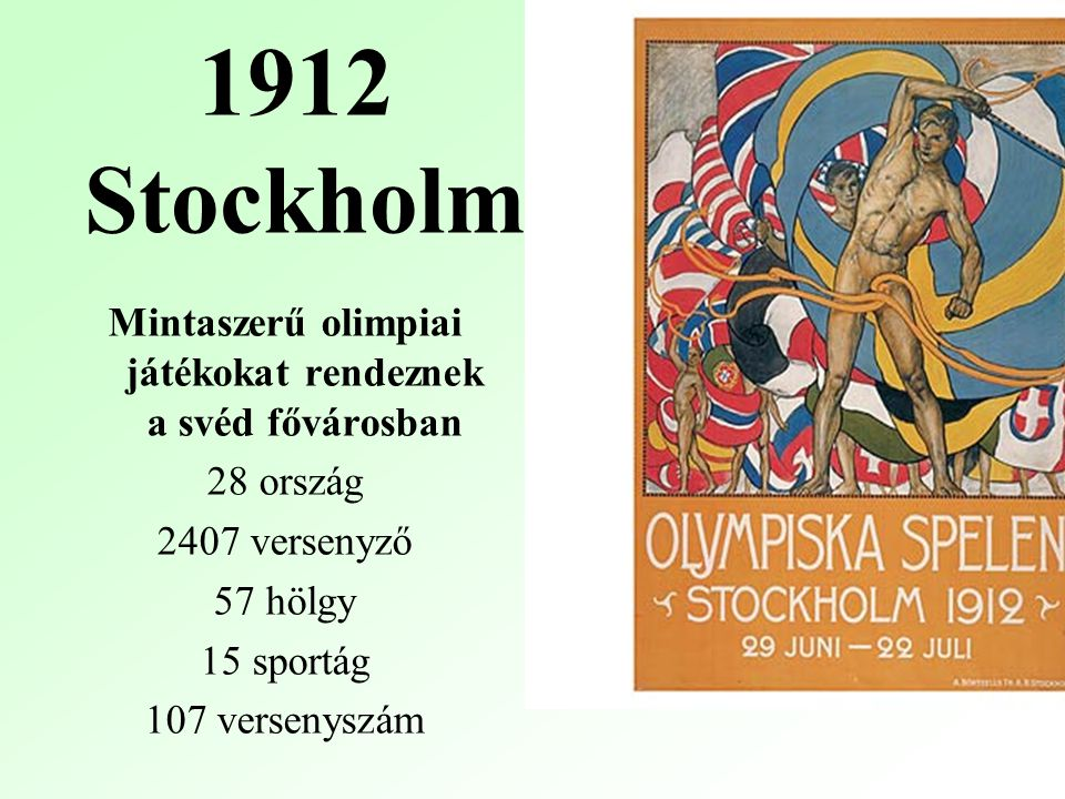 1912 Stockholm Mintaszerű olimpiai játékokat rendeznek a svéd fővárosban 28 ország 2407 versenyző 57 hölgy 15 sportág 107 versenyszám