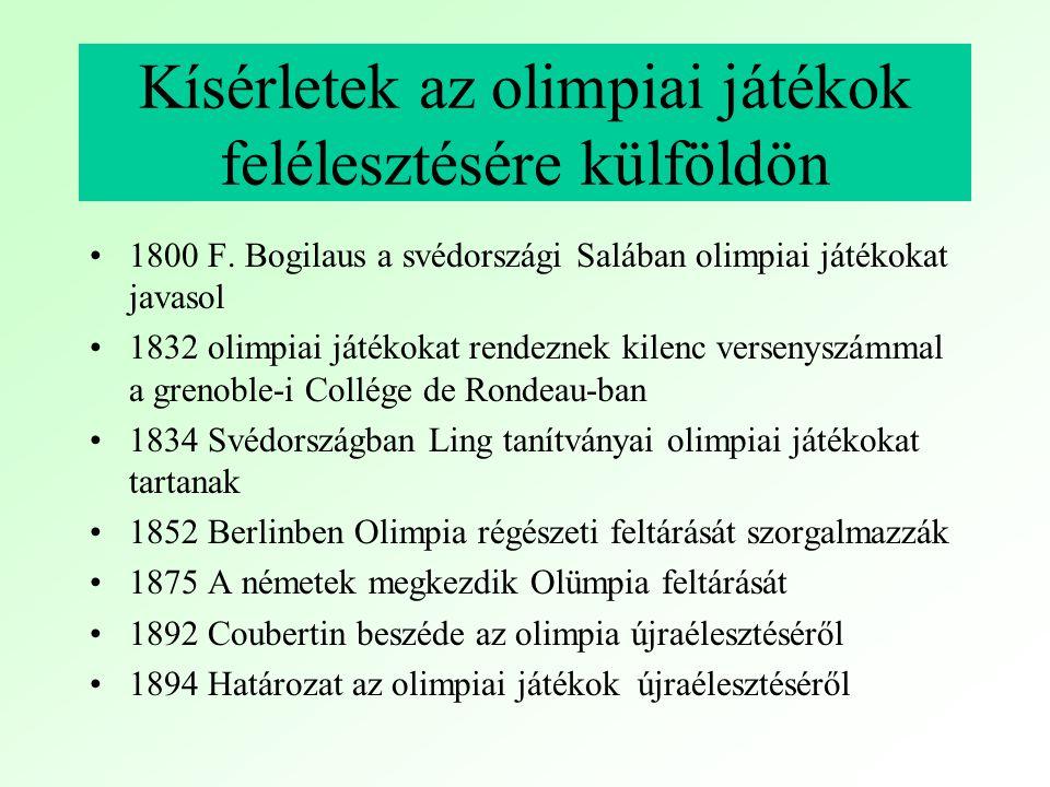 I.György görög király megnyitja az első olimpiai játékokat.