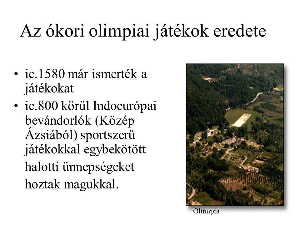 Az ókori olimpiai játékok eredete ie.1580 már ismerték a játékokat ie.800 körül Indoeurópai bevándorlók (Közép Ázsiából) sportszerű játékokkal egybekö