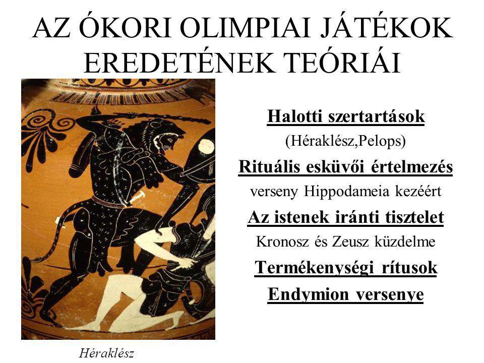 AZ ÓKORI OLIMPIAI JÁTÉKOK EREDETÉNEK TEÓRIÁI Halotti szertartások (Héraklész,Pelops) Rituális esküvői értelmezés verseny Hippodameia kezéért Az istene
