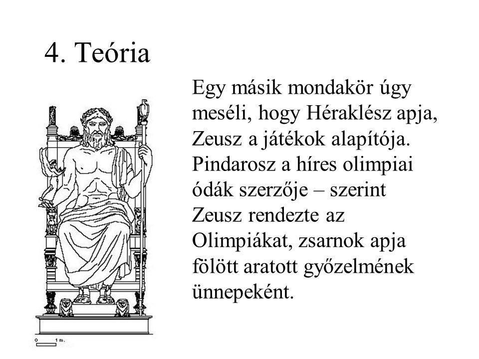 4. Teória Egy másik mondakör úgy meséli, hogy Héraklész apja, Zeusz a játékok alapítója. Pindarosz a híres olimpiai ódák szerzője – szerint Zeusz rend