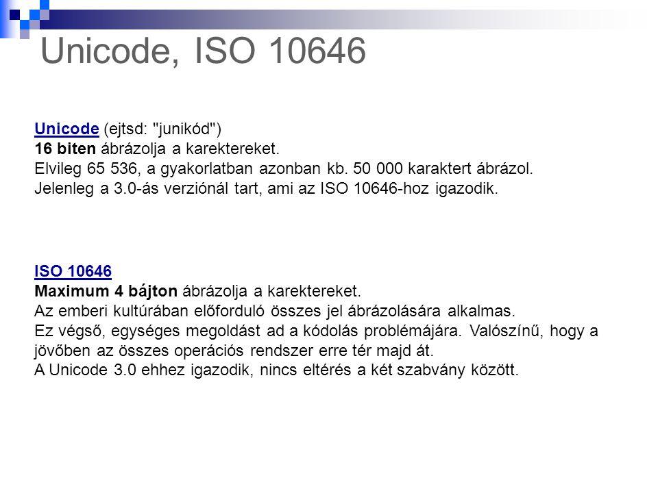 Unicode, ISO 10646 UnicodeUnicode (ejtsd: