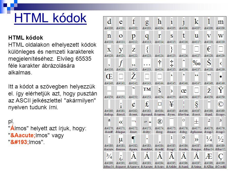 HTML kódok HTML oldalakon elhelyezett kódok különleges és nemzeti karakterek megjelenítéséhez. Elvileg 65535 féle karakter ábrázolására alkalmas. Itt