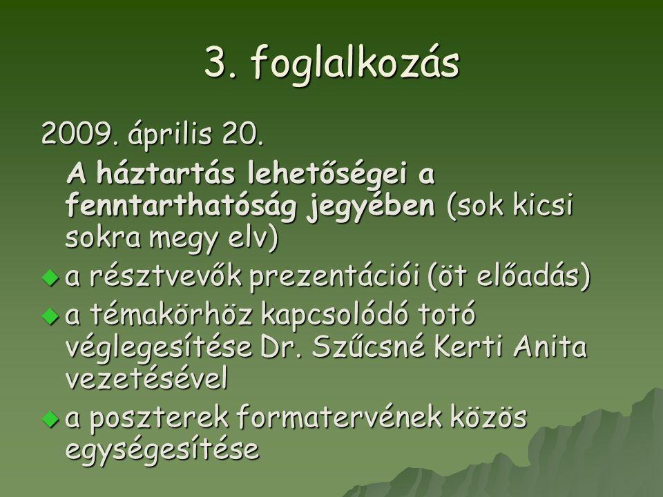 3. foglalkozás 2009. április 20. A háztartás lehetőségei a fenntarthatóság jegyében (sok kicsi sokra megy elv) A háztartás lehetőségei a fenntarthatós