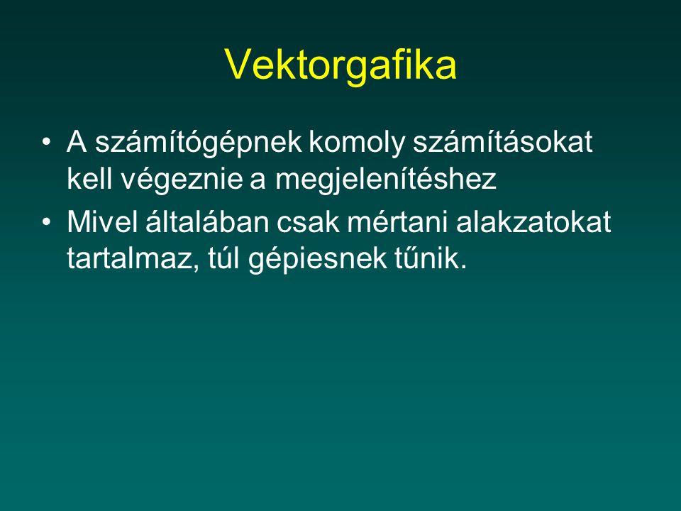 Vektorgafika A számítógépnek komoly számításokat kell végeznie a megjelenítéshez Mivel általában csak mértani alakzatokat tartalmaz, túl gépiesnek tűn