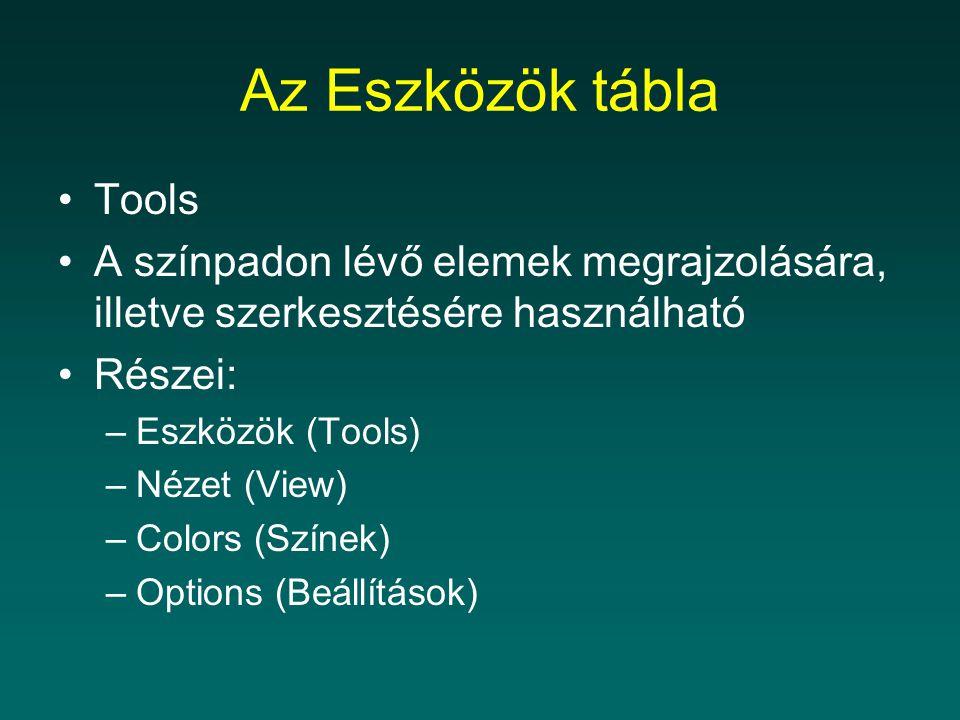 Az Eszközök tábla Tools A színpadon lévő elemek megrajzolására, illetve szerkesztésére használható Részei: –Eszközök (Tools) –Nézet (View) –Colors (Sz