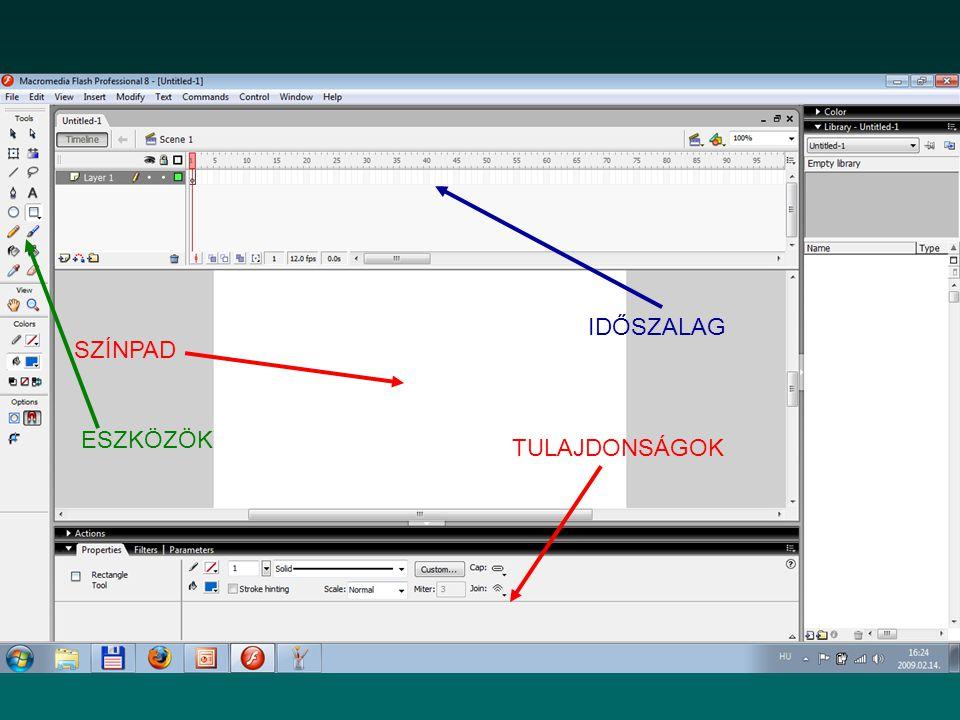 Az Eszközök tábla Tools A színpadon lévő elemek megrajzolására, illetve szerkesztésére használható Részei: –Eszközök (Tools) –Nézet (View) –Colors (Színek) –Options (Beállítások)