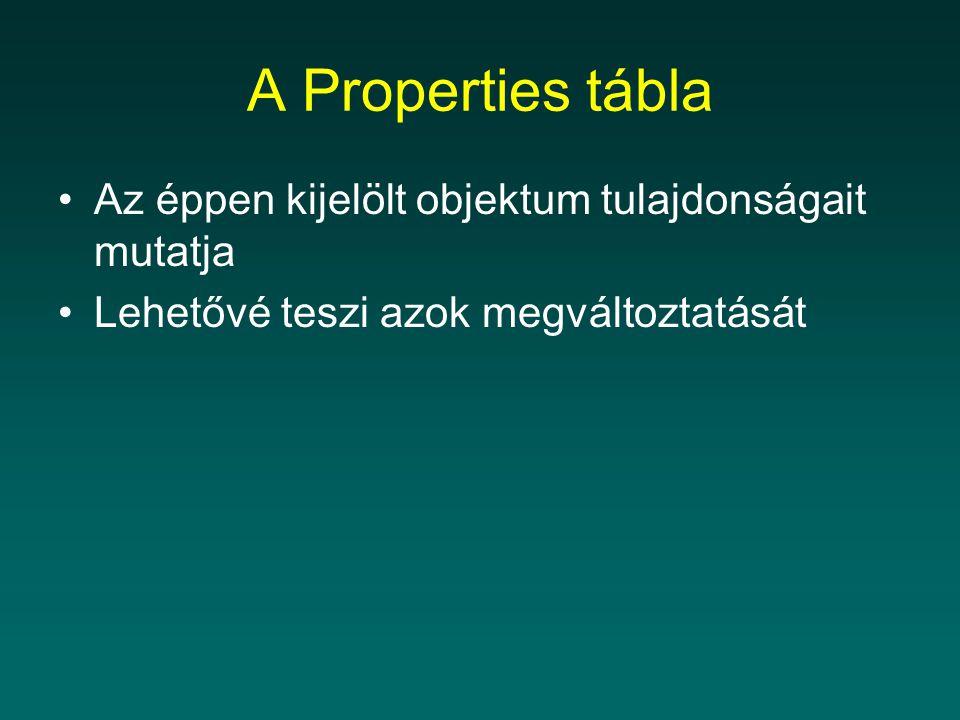 A Properties tábla Az éppen kijelölt objektum tulajdonságait mutatja Lehetővé teszi azok megváltoztatását